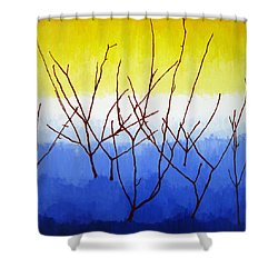 Winter Dogwood Shower Curtain by Oliver Johnston