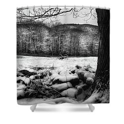 Shower Curtain featuring the photograph Winter Dreary Square by Bill Wakeley