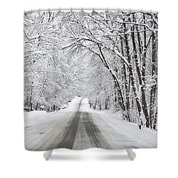 Winter Drive On Highway A Shower Curtain