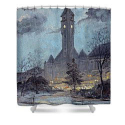Winter Dusk - Union Station Shower Curtain