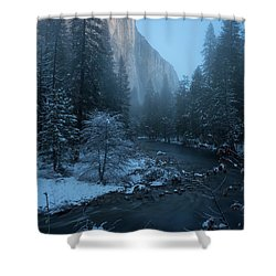 Winter El Cap  Shower Curtain