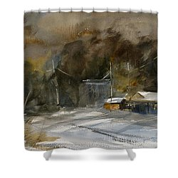 Winter Evening In A Small Town Shower Curtain by Sandra Strohschein