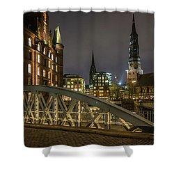Winter Evening In Hamburg  Shower Curtain