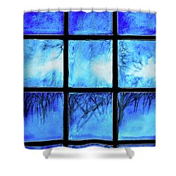 Winter Evening Yard Lights Shower Curtain