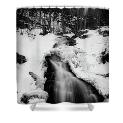 Shower Curtain featuring the photograph Winter Falls With Sun by Alan Raasch