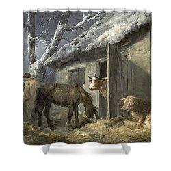 Winter Farmyard Shower Curtain by George Morland
