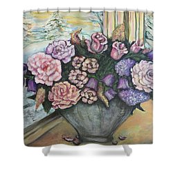 Winter Flowers Shower Curtain by Rae Chichilnitsky