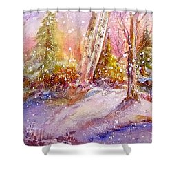 Shower Curtain featuring the painting Winter Forest  by Patricia Schneider Mitchell