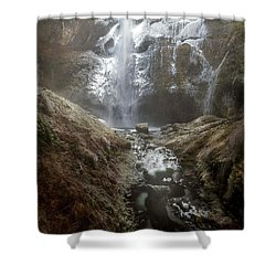Winter Freeze At Multnomah Falls Shower Curtain by David Gn
