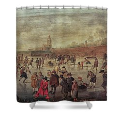 Shower Curtain featuring the photograph Winter Fun Painting By Barend Avercamp by Patricia Hofmeester