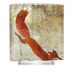 Winter Game Fox Shower Curtain by Mindy Sommers