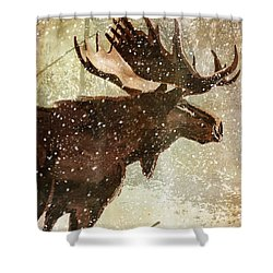 Winter Game Moose Shower Curtain