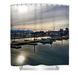 Shower Curtain featuring the photograph Winter Harbor Revisited #mobilephotography by Chriss Pagani