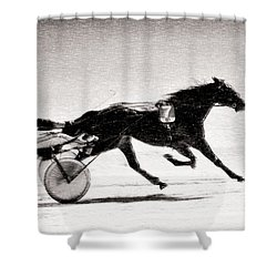 Winter Harness Racing Shower Curtain