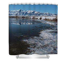 Winter Ice Flows Shower Curtain by Justin Johnson