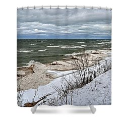 Winter Ice On Lake Michigan Ll Shower Curtain