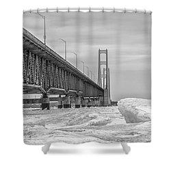 Shower Curtain featuring the photograph Winter Icy Mackinac Bridge  by John McGraw