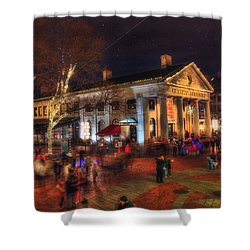 Winter In Boston - Quincy Market Shower Curtain by Joann Vitali