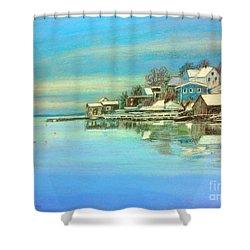 winter in Chester ,Nova Scotia  Shower Curtain