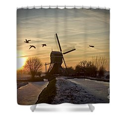 Winter In Holland-2 Shower Curtain