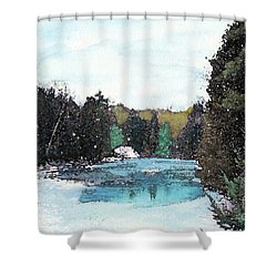 Shower Curtain featuring the mixed media Winter In Kalkaska by Desiree Paquette