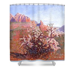 Shower Curtain featuring the painting Winter In Sedona, Arizona by Nancy Lee Moran