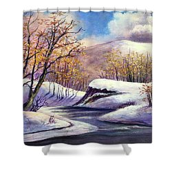 Shower Curtain featuring the painting Winter In The Garden Of Eden by Randol Burns