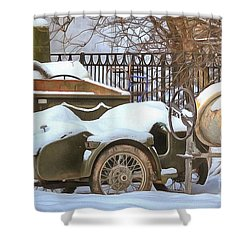 winter in the village Russian Shower Curtain