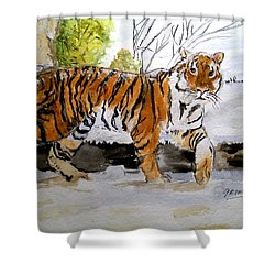 Winter In The Zoo Shower Curtain
