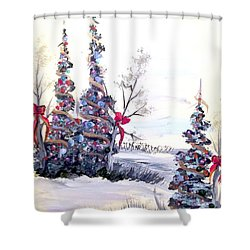 Shower Curtain featuring the painting Winter Joy by Dorothy Maier