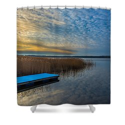 Winter Lake View With A White Rectangle Shower Curtain