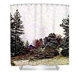 Winter Landscape 1 In Abstract Shower Curtain