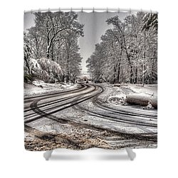 Tracks In The Snow Shower Curtain by Alex Galkin