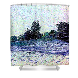 Winter Landscape 2 In Abstract Shower Curtain