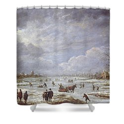 Winter Landscape Shower Curtain by Aert van der Neer