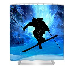 Winter Landscape And Freestyle Skier Shower Curtain by Elaine Plesser