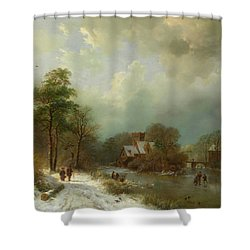 Shower Curtain featuring the painting Winter Landscape - Holland by Barend Koekkoek