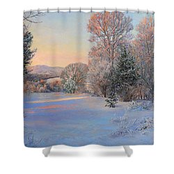 Winter Landscape In The Morning Shower Curtain