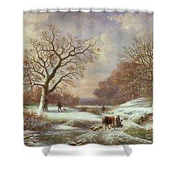 Winter Landscape Shower Curtain by Louis Verboeckhoven