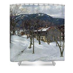 Winter Landscape Near Kutterling Shower Curtain by Johann Sperl
