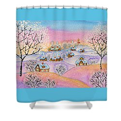 Winter Landscape, Painting Shower Curtain