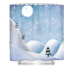 Winter Landscape Under Full Moon Shower Curtain