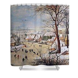 Winter Landscape With Birdtrap Shower Curtain by Pieter the elder Bruegel