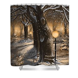 Shower Curtain featuring the painting Winter Magic by Veronica Minozzi