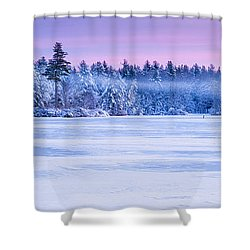 Winter Mist Baxter Lake New Hampshire Shower Curtain