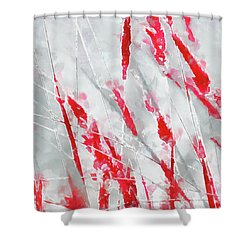 Winter Moods 1 - Cardinal Red And Icy Gray Nature Abstract Shower Curtain