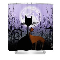 Winter Moon Cats In Love Shower Curtain
