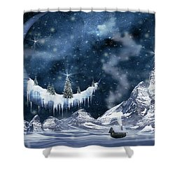Winter Moon Shower Curtain by Mihaela Pater