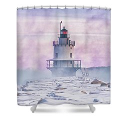 Winter Morning At Spring Point Ledge Shower Curtain