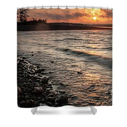 Shower Curtain featuring the photograph Winter Morning At The Vetran's Lake by Iris Greenwell